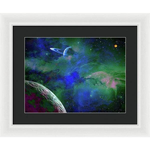 Planet Companion - Framed Print - 16.000 x 12.000 / White / Black - Framed Print
