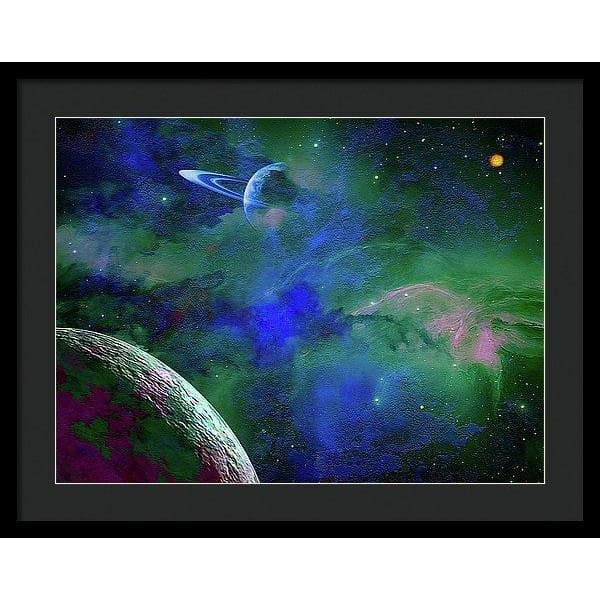 Planet Companion - Framed Print - 24.000 x 18.000 / Black / Black - Framed Print