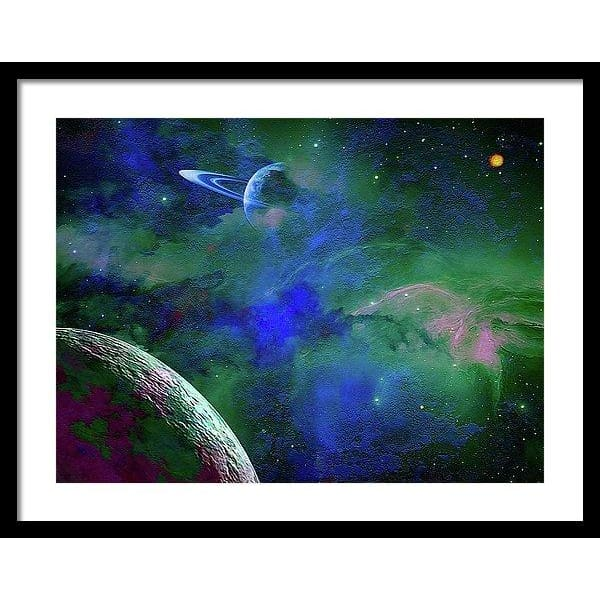 Planet Companion - Framed Print - 24.000 x 18.000 / Black / White - Framed Print