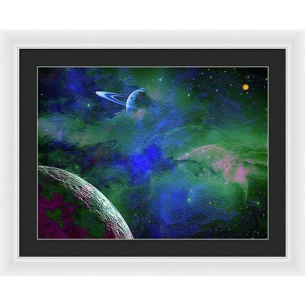 Planet Companion - Framed Print - 24.000 x 18.000 / White / Black - Framed Print