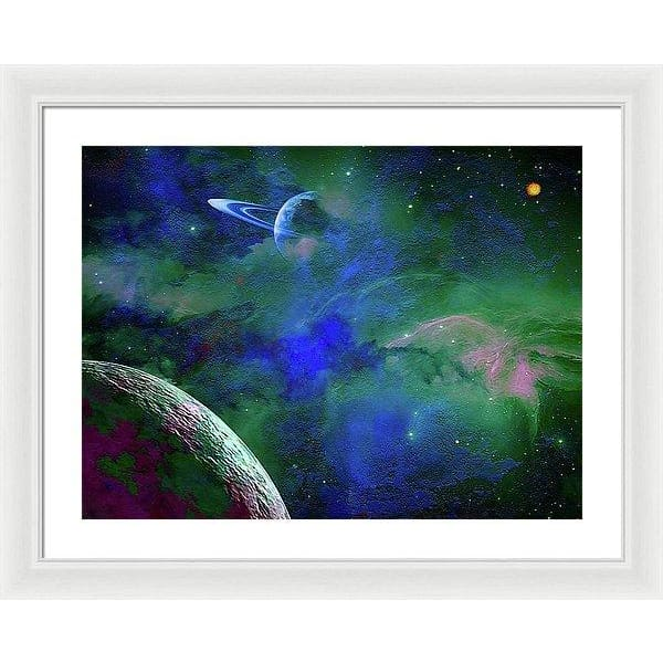 Planet Companion - Framed Print - 24.000 x 18.000 / White / White - Framed Print