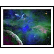 Planet Companion - Framed Print - 40.000 x 30.000 / Black / White - Framed Print