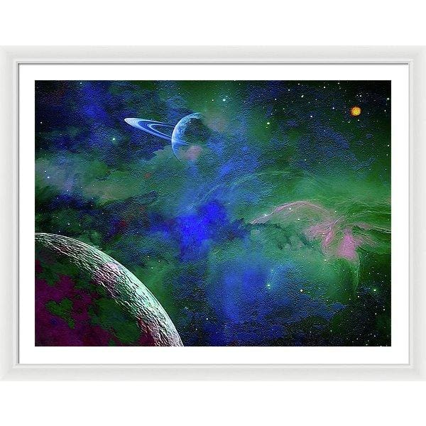 Planet Companion - Framed Print - 40.000 x 30.000 / White / White - Framed Print