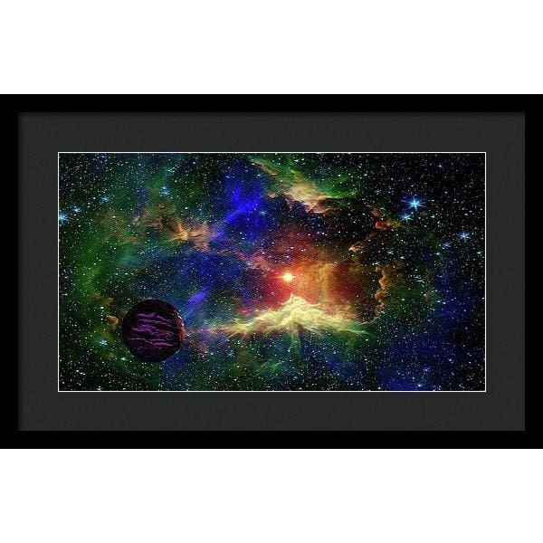 Planet Outcast - Framed Print - 20.000 x 11.250 / Black / Black - Framed Print