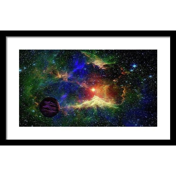 Planet Outcast - Framed Print - 20.000 x 11.250 / Black / White - Framed Print