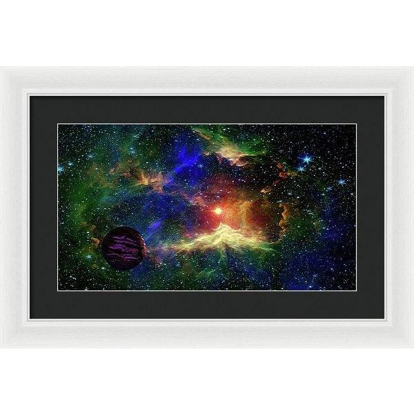 Planet Outcast - Framed Print - 20.000 x 11.250 / White / Black - Framed Print