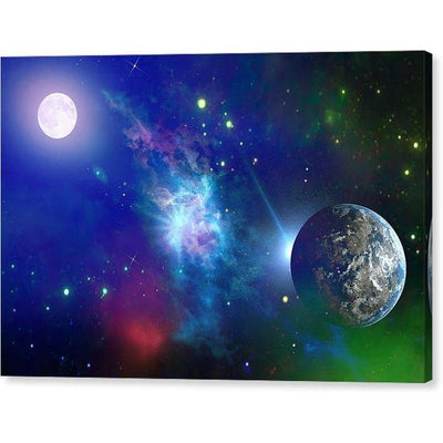 Planet View - Canvas Print - 12.000 x 8.000 / Mirrored / Glossy - Canvas Print