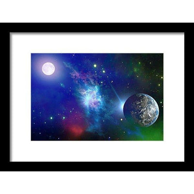 Planet View - Framed Print - 12.000 x 8.000 / Black / White - Framed Print
