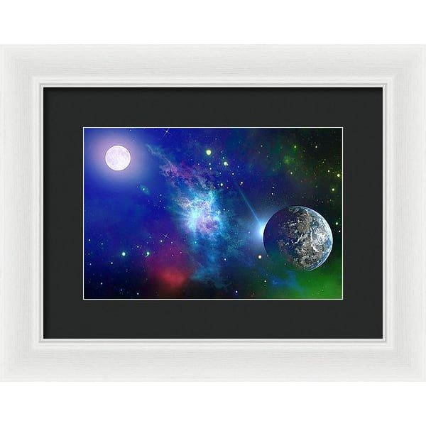 Planet View - Framed Print - 12.000 x 8.000 / White / Black - Framed Print