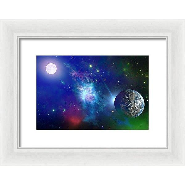 Planet View - Framed Print - 12.000 x 8.000 / White / White - Framed Print
