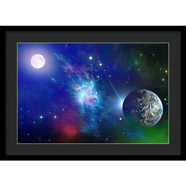 Planet View - Framed Print - 24.000 x 16.000 / Black / Black - Framed Print