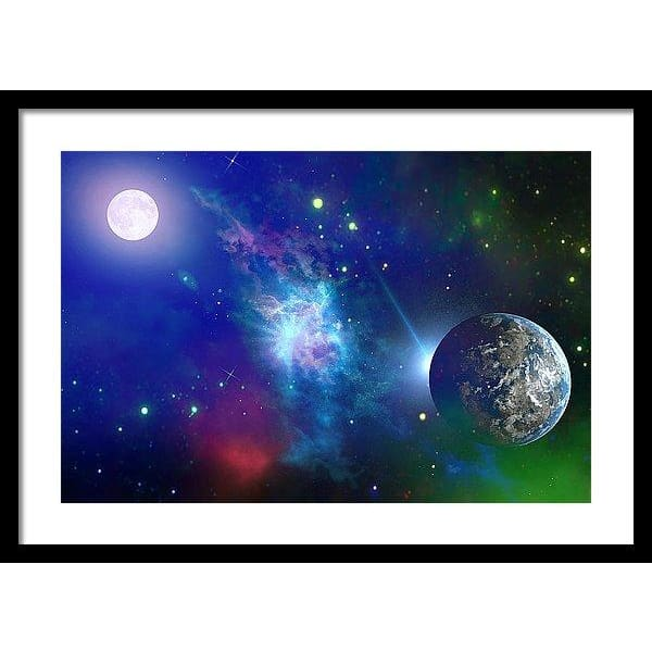 Planet View - Framed Print - 24.000 x 16.000 / Black / White - Framed Print