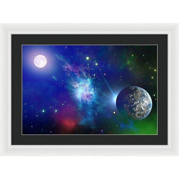 Planet View - Framed Print - 24.000 x 16.000 / White / Black - Framed Print
