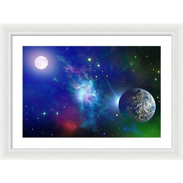 Planet View - Framed Print - 24.000 x 16.000 / White / White - Framed Print