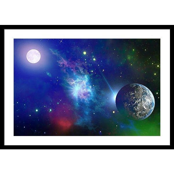 Planet View - Framed Print - 30.000 x 20.000 / Black / White - Framed Print