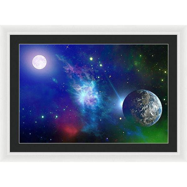 Planet View - Framed Print - 30.000 x 20.000 / White / Black - Framed Print
