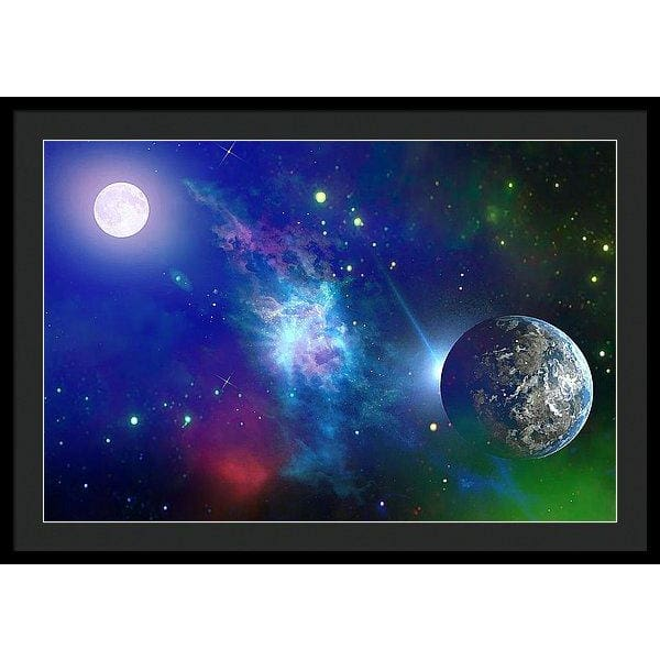 Planet View - Framed Print - 36.000 x 24.000 / Black / Black - Framed Print