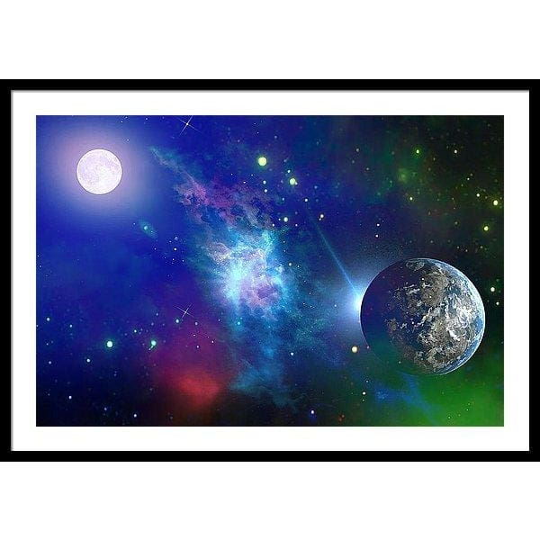 Planet View - Framed Print - 36.000 x 24.000 / Black / White - Framed Print