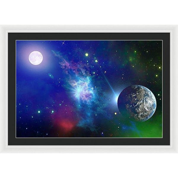 Planet View - Framed Print - 36.000 x 24.000 / White / Black - Framed Print