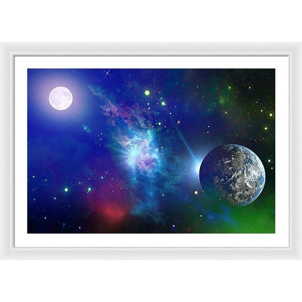 Planet View - Framed Print - 36.000 x 24.000 / White / White - Framed Print