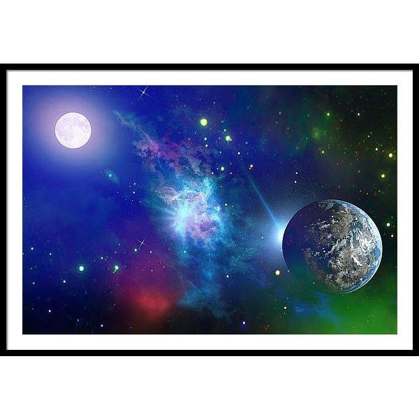 Planet View - Framed Print - 48.000 x 32.000 / Black / White - Framed Print