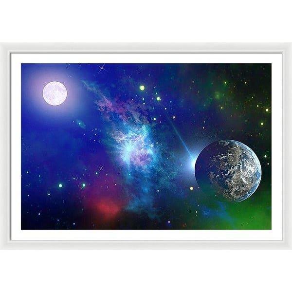 Planet View - Framed Print - 48.000 x 32.000 / White / White - Framed Print