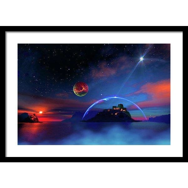 Private Planet - Framed Print - 24.000 x 16.000 / Black / White - Framed Print