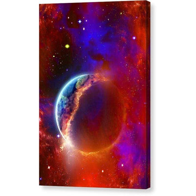 Ruptured Moon - Canvas Print - 6.625 x 10.000 / Mirrored / Glossy - Canvas Print