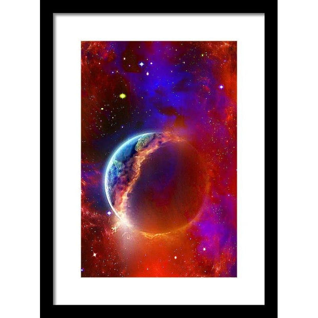 Ruptured Moon - Framed Print - 10.625 x 16.000 / Black / White - Framed Print