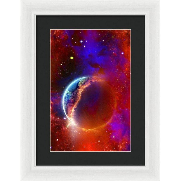 Ruptured Moon - Framed Print - 10.625 x 16.000 / White / Black - Framed Print