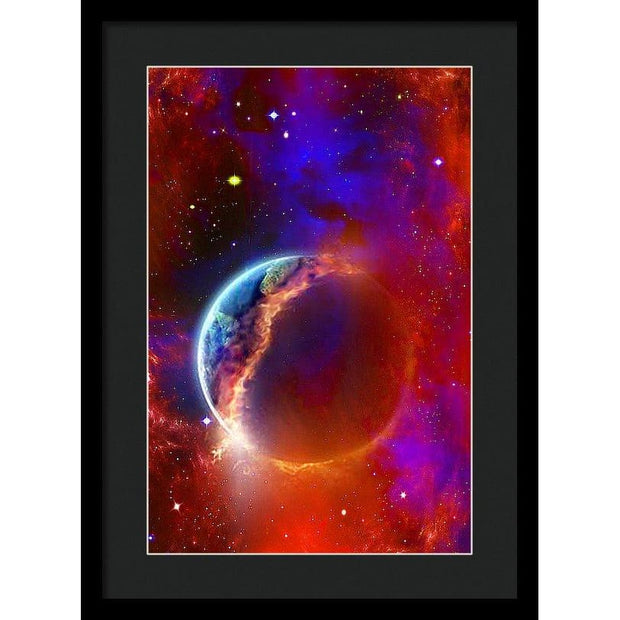 Ruptured Moon - Framed Print - 13.375 x 20.000 / Black / Black - Framed Print