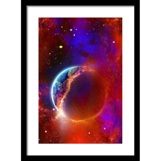 Ruptured Moon - Framed Print - 13.375 x 20.000 / Black / White - Framed Print