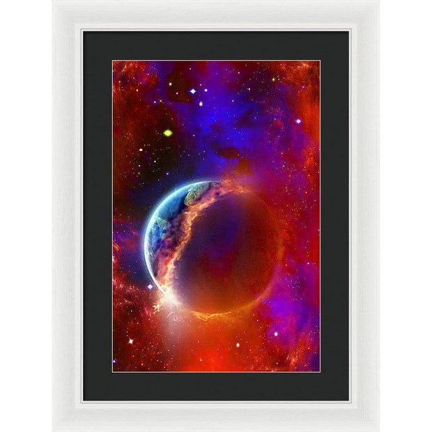 Ruptured Moon - Framed Print - 13.375 x 20.000 / White / Black - Framed Print
