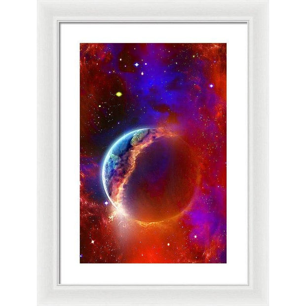 Ruptured Moon - Framed Print - 13.375 x 20.000 / White / White - Framed Print