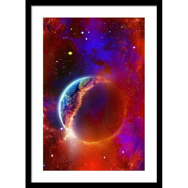 Ruptured Moon - Framed Print - 16.000 x 24.000 / Black / White - Framed Print