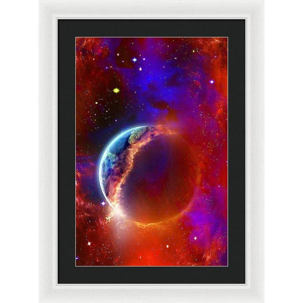 Ruptured Moon - Framed Print - 16.000 x 24.000 / White / Black - Framed Print