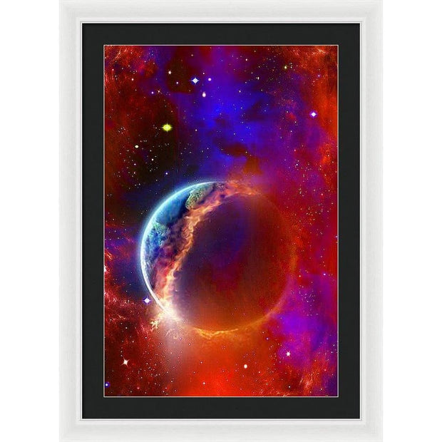 Ruptured Moon - Framed Print - 20.000 x 30.000 / White / Black - Framed Print