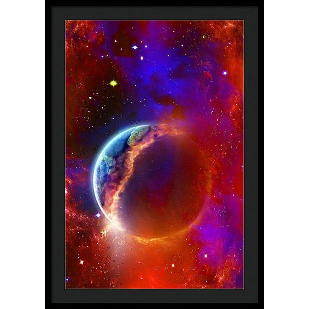 Ruptured Moon - Framed Print - 24.000 x 36.000 / Black / Black - Framed Print