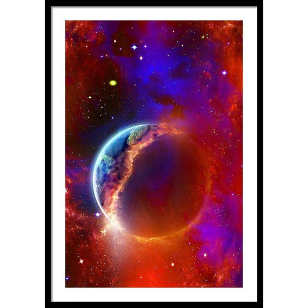 Ruptured Moon - Framed Print - 24.000 x 36.000 / Black / White - Framed Print