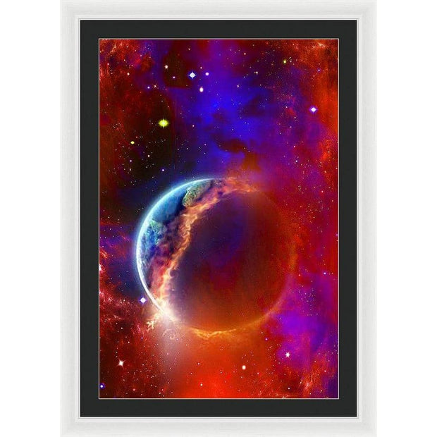 Ruptured Moon - Framed Print - 24.000 x 36.000 / White / Black - Framed Print