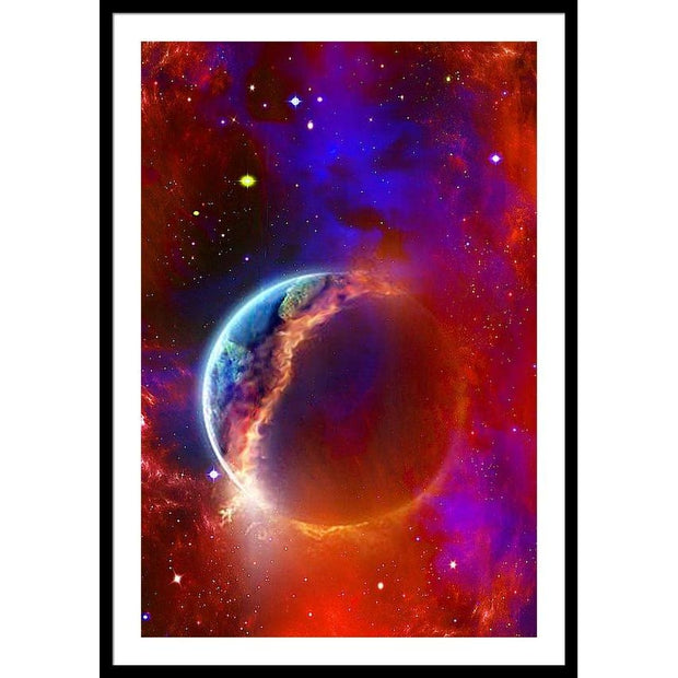 Ruptured Moon - Framed Print - 26.625 x 40.000 / Black / White - Framed Print