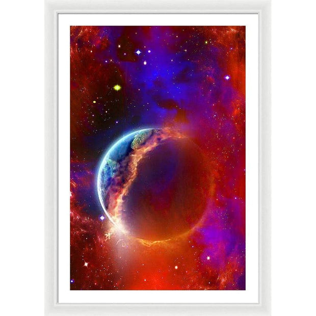 Ruptured Moon - Framed Print - 26.625 x 40.000 / White / White - Framed Print