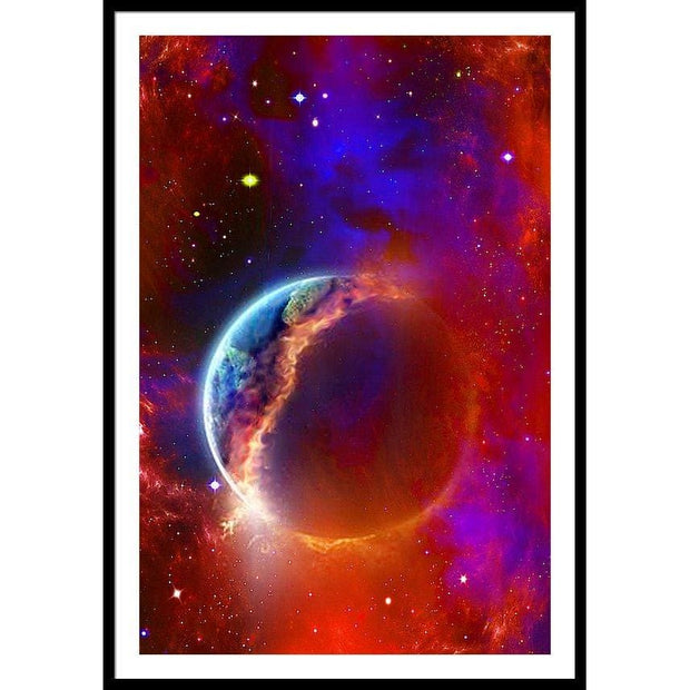 Ruptured Moon - Framed Print - 32.000 x 48.000 / Black / White - Framed Print
