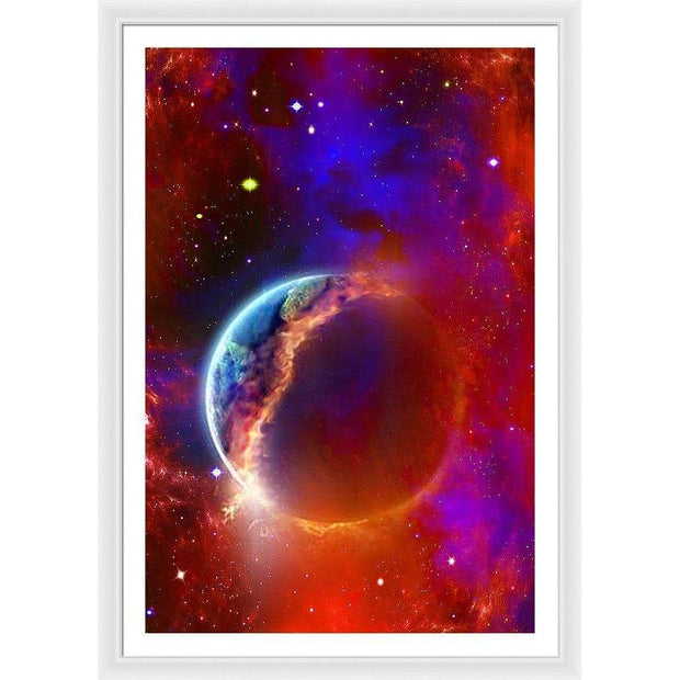 Ruptured Moon - Framed Print - 32.000 x 48.000 / White / White - Framed Print