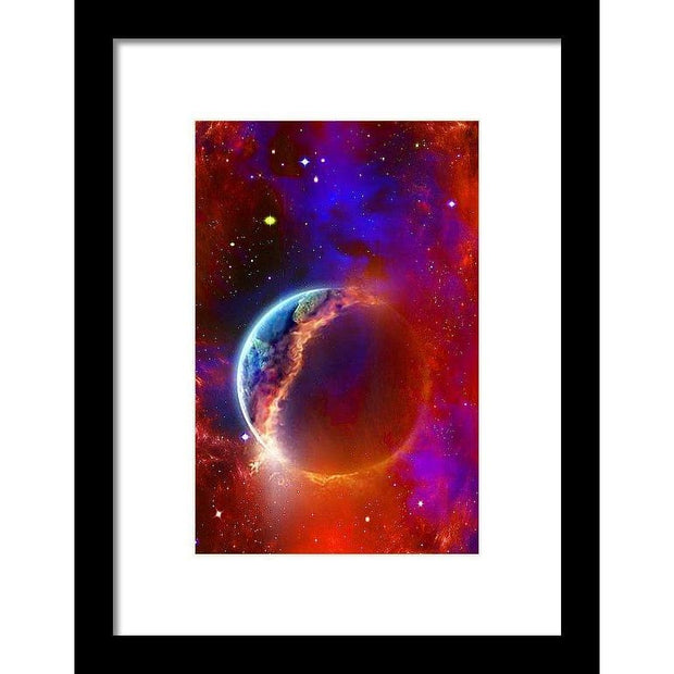 Ruptured Moon - Framed Print - 6.625 x 10.000 / Black / White - Framed Print