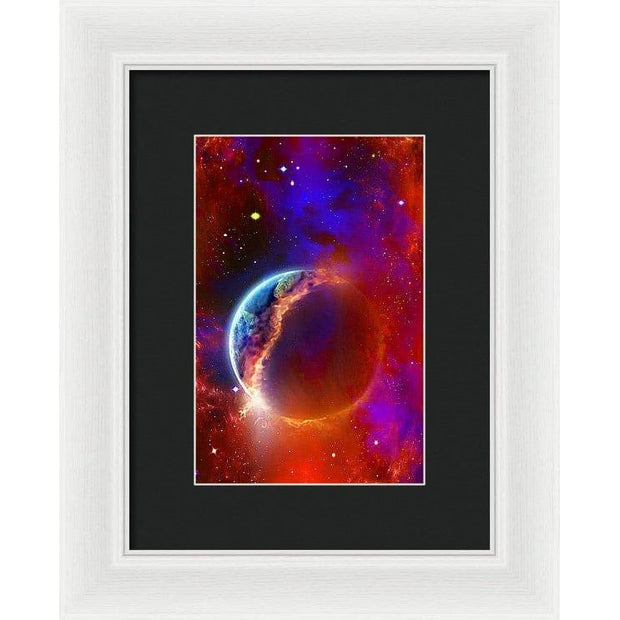 Ruptured Moon - Framed Print - 6.625 x 10.000 / White / Black - Framed Print