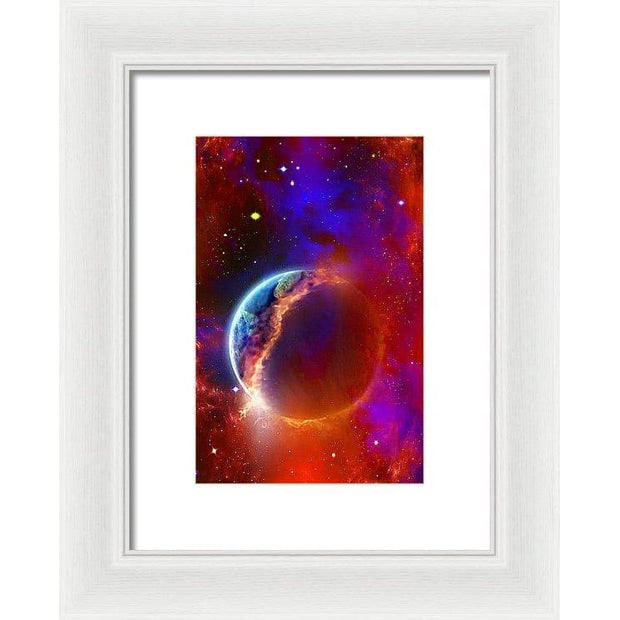 Ruptured Moon - Framed Print - 6.625 x 10.000 / White / White - Framed Print