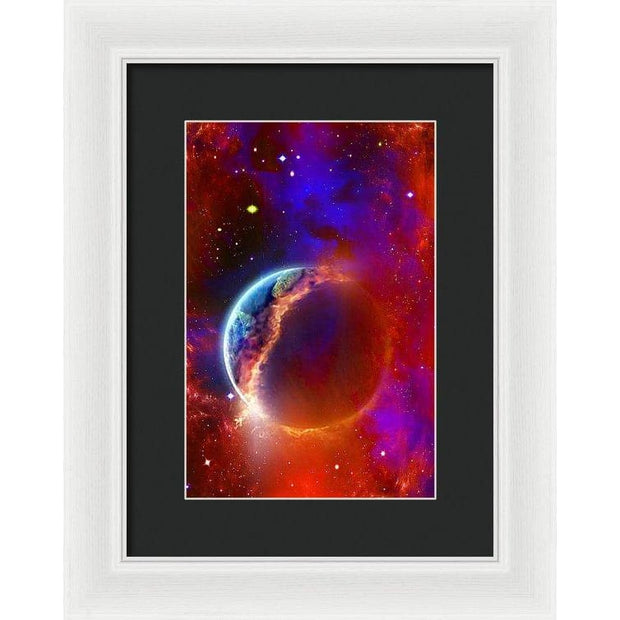 Ruptured Moon - Framed Print - 8.000 x 12.000 / White / Black - Framed Print