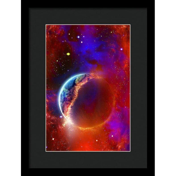 Ruptured Moon - Framed Print - 9.375 x 14.000 / Black / Black - Framed Print