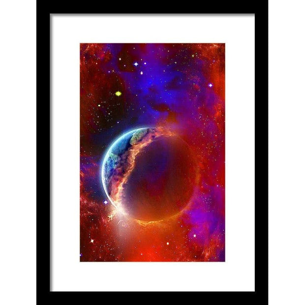 Ruptured Moon - Framed Print - 9.375 x 14.000 / Black / White - Framed Print